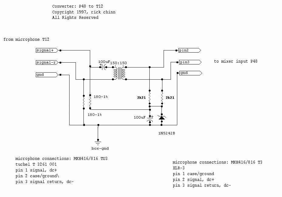 t powering for condenser microphones links and schematics